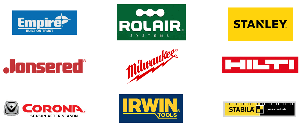 Irwin, stabila, stanley, empire, rolair, jonsered, milwaukee, hilti